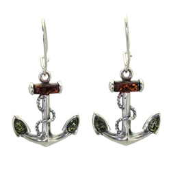 """Anchors Away"" Earrings - Honey And Green Amber"