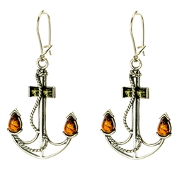 """Anchors Away"" Earrings - Honey Amber"