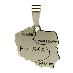 A silver map of Poland featuring the Vistula river and the three major cities along its route: Krakow, Warszawa (Warsaw) and Gdansk.