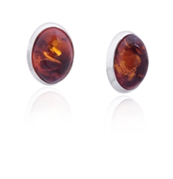 Cherry amber oval earrings framed with Sterling Silver. Stylish and unique.