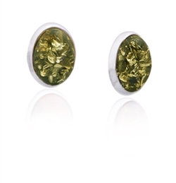 Green amber oval earrings framed with Sterling Silver.