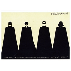 "Polish poster designed by artist Ryszard Kaja for a film night with American superheros; Batman, Zorro, Neo, Darth Vader . It has now been turned into a post card size 4.75"" x 6.75"" - 12cm x 17cm."