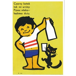 "Post Card: Czarny Kotek - Black Cat Polish Poster designed by Jakub Erol in 1972. It has now been turned into a post card size 4.75"" x 6.75"" - 12cm x 17cm."