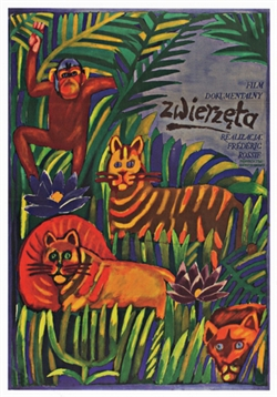 "Post Card: The Animals Polish Poster designed by Maria 'Mucha' Ihnatowicz in 1963. It has now been turned into a post card size 4.75"" x 6.75"" - 12cm x 17cm."