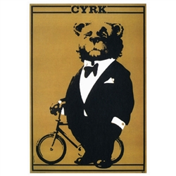 "Post Card: Bear in Tuxedo, Polish Circus Poster designed by Waldemar Swierzy  in 1967. It has now been turned into a post card size 4.75"" x 6.75"" - 12cm x 17cm."