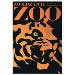 "Post Card: Visit the Zoo, Polish Poster designed by Waldemar Swierzy  in 1967. It has now been turned into a post card size 4.75"" x 6.75"" - 12cm x 17cm."