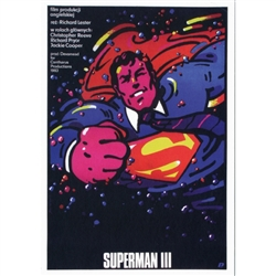 "Post Card: Superman 3, Polish Movie Poster designed by Waldemar Swierzy  in 1983. It has now been turned into a post card size 4.75"" x 6.75"" - 12cm x 17cm."