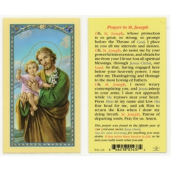 St. Joseph, Most Ancient Prayer - Holy Card.  Plastic Coated. Picture is on the front, text is on the back of the card.