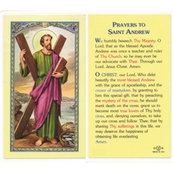 St. Andrew - Holy Card.  Plastic Coated. Picture is on the front, text is on the back of the card.