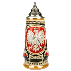 "This traditional stoneware stein features the Polish white eagle on the front panel, surrounded by a rich red glaze. Beneath the eagle, a scroll features the word ""Polska."" The sides of the stein highlight major Polish cities. The piece is completed with"