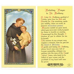 St. Anthony - Unfailing Prayer - Holy Card.  Plastic Coated. Picture is on the front, text is on the back of the card.
