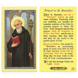 St. Benedict - Holy Card.  Plastic Coated. Picture is on the front, text is on the back of the card.