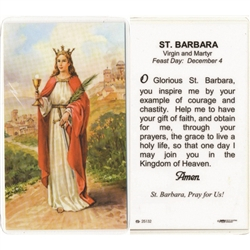 St. Barbara - Holy Card.  Plastic Coated. Picture is on the front, text is on the back of the card.