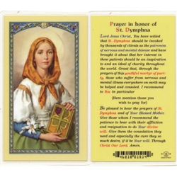 St. Dymphna - Holy Card.  Plastic Coated. Picture is on the front, text is on the back of the card.