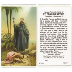 St. Francis Xavier - Holy Card.  Plastic Coated. Picture is on the front, text is on the back of the card.