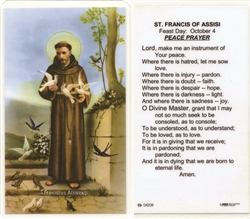 St. Francis of Assisi- Holy Card.  Plastic Coated. Picture is on the front, text is on the back of the card.