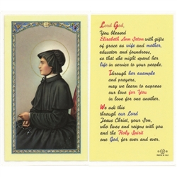 St. Elizabeth Ann Seton - Holy Card.  Plastic Coated. Picture is on the front, text is on the back of the card.