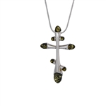 Orthodox Silver And Green Amber Cross
