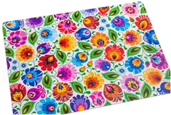 Decorative plastic pad for folk with a pattern of Lowicz flowers. The colored underside is made of non-slip foam.  Rounded cornersand easy to clean - just wipe with a wet cloth.