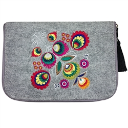 Cover made of stiff grey felt. Main decoration is vivid embroidery - Lowicz Flowers (made by Farbotka brand). Quilted lining and pocket inside. 