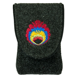 "Case is made of thick felt. The main cover is embroidery embellishment (Lowicz flower). Cover trimmed with piping and finished in the middle of the interior lining with the company logo (Farbotka). It has a Velcro fastener.  Fits phones up to 2.5"" x 4.75"""
