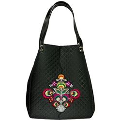Folk handbag - simple yet elegant and feminine. Comfortable, functional and very roomy. The interior has a finished quilted lining and a main compartment with three interior pockets (one large zippered, one is open and a small pocket for a phone). The bag