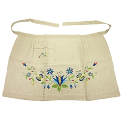 Hand embroidered Kashubian Floral Apron made of linen. Made in Gdansk. We have only one available. A real work of art.