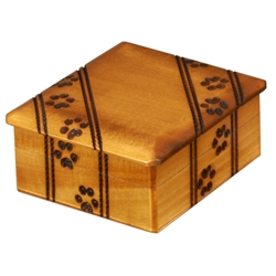 This small sized simple box is decorated with a paw print design running across the sides and top of the box. It's perfect for the animal lover!