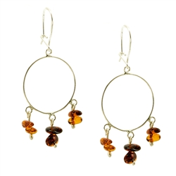 Lovely set of sterling silver hoop earrings and honey amber dangles.
