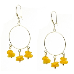 Lovely set of sterling silver hoop earrings and custard amber dangles.