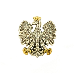Hand made in Warsaw from sterling silver. Notice the fine attention to detail. Gold colored crown.