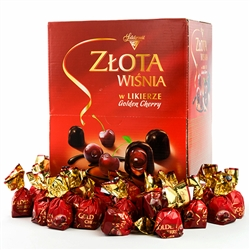 Cherries in dark chocolate, a delicious traditional Polish sweet treat. A whole pitted cherry dipped in cherry liqueur, closed in a shell of delicious Polish dark chocolate.  2.5kg box.  Contains alcohol so these are not for children.