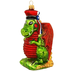 In days of yore, according to lore, at the foot of Wawel hill in Krakow lived a fire breathing dragon.....so the legend goes. Each ornament has a tag with the complete tale. More stylish than vile-ish, our tame rendition is depicted in a traditional