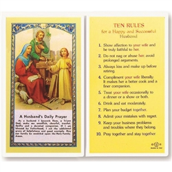 Rules for a Happy and Successful Husband - Holy Card.  Plastic Coated. Picture and prayer is on the front, text is on the back of the card.