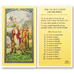 Boy Scout Promise - Holy Card.  Plastic Coated. Picture is on the front, text is on the back of the card.