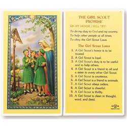 Girl Scout Promise - Holy Card. Plastic Coated. Picture is on the front, text is on the back of the card.