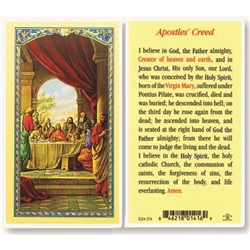 Apostles' Creed - Holy Card. Plastic Coated. Picture is on the front, text is on the back of the card.