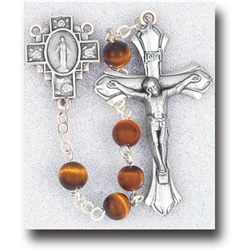 "Polish Art Center - 20"" 6mm Genuine Gem Stone Tiger Eye Beads with Deluxe Silver Oxidized Crucifix and Center. It comes with a Deluxe Velvet Box"