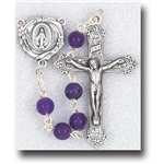 "Polish Art Center - 20"" 6mm Genuine Gem Stone Amethyst Beads with Deluxe Silver Oxidized Crucifix and Center. It comes with a Deluxe Velvet Box"