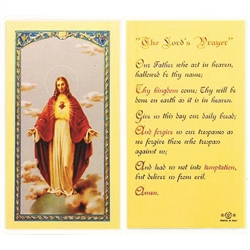 Polish Art Center - The Lord's Prayer - Holy Card.  Plastic Coated. Picture and prayer is on the front, text is on the back of the card.