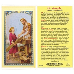 Polish Art Center - St. Joseph - Patron of Workers - Holy Card.  Plastic Coated. Picture and prayer is on the front, text is on the back of the card.