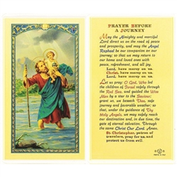 Polish Art Center - St. Christopher Prayer Before a Journey - Holy Card.  Plastic Coated. Picture and prayer is on the front, text is on the back of the card.