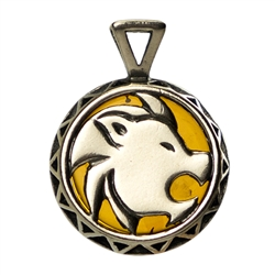 Hand made Cognac Amber Leo pendant with Sterling Silver detail.  July 23 - August 22
