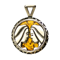 Hand made Cognac Amber Gemini pendant with Sterling Silver detail. May 21 - June 21.