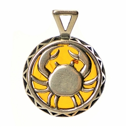 Hand made Cognac Amber Cancer pendant with Sterling Silver detail. June 21 - July 22.