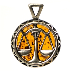 Hand made Cognac Amber Libra pendant with Sterling Silver detail. September 23 - October 23.