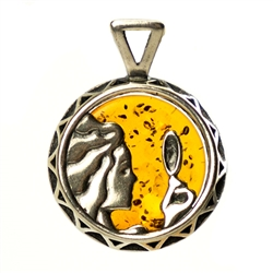 Hand made Cognac Amber Virgo pendant with Sterling Silver detail.  August 23 - September 22