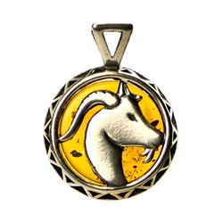 Hand made Cognac Amber Capricorn Goat Zodiac Pendant with Sterling Silver detail. December 22 - January 20.