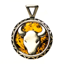 Hand made Cognac Amber Taurus pendant with Sterling Silver detail. April 20 - May 21.
