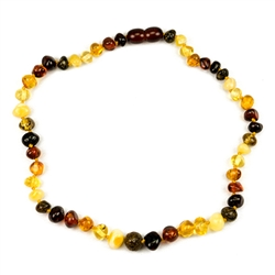 Lovely necklace composed of a variety of amber colors. Gold colored cord w/ knot between each bead. Perfect size for children over three. Definitely not intended for children 3 or younger due to the small parts and choking hazard.
